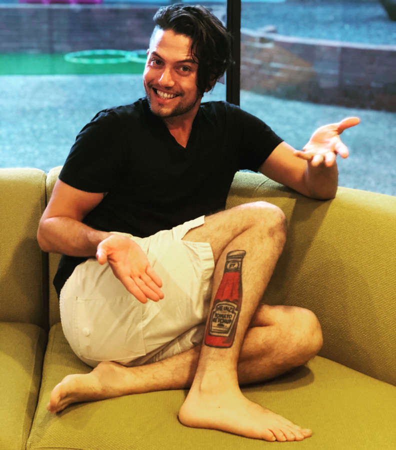 Jasper's ketchup bottle tattoo